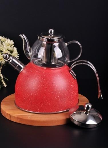 Bayev Granit Düdüklü Cam Çaydanlık-200601 Kırmızı